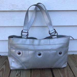 Handbags - Womens Handbag Silver Metallic Shoulder Bag Zip